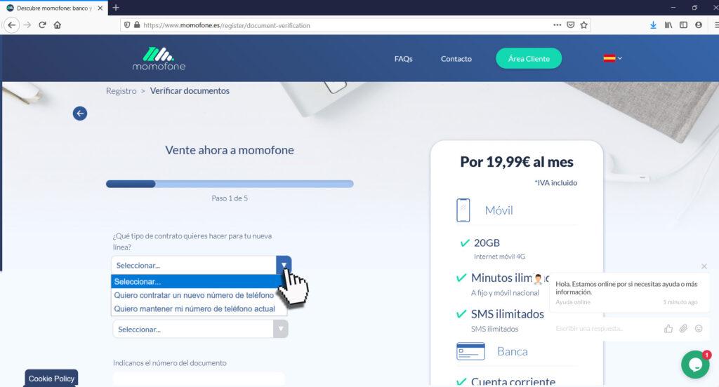 contratar cuenta online españa